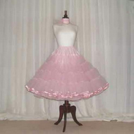 Pink and fluffy vintage style 50's rock 'n' roll custom made petticoat with satin bound edge