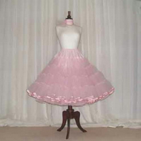 Pink  vintage style 50's rock 'n' roll custom made petticoat satin bound edge