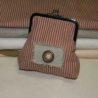 Small purse in rustic red ticking fabric