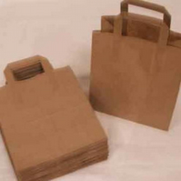 50 brown paper bags with handles and gusset