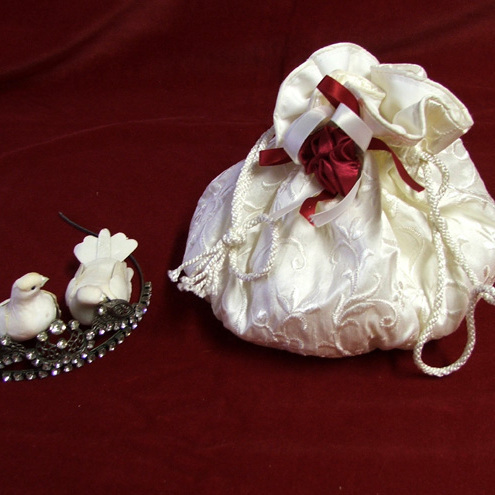 Bridal bag ivory embroidered pure silk