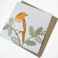 Hand Embossed Robin Christmas Card