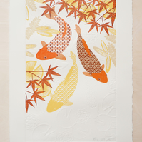 Koi Fish Limited Edition Wood Cut & Hand Embossed Print