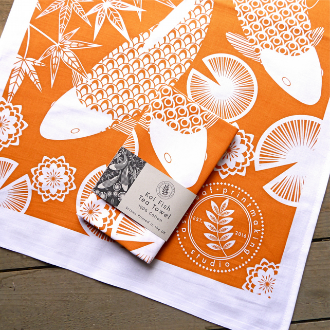 Orange Screen Printed Koi Fish Tea Towel
