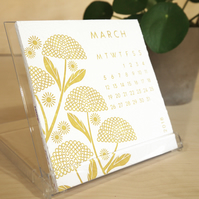 Hand Embossed Colour 2018 Floral Desktop Calendar