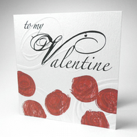 Handmade Red Roses Valentine Card
