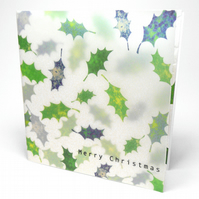 6 x Green Falling Holly Leaves Christmas Cards