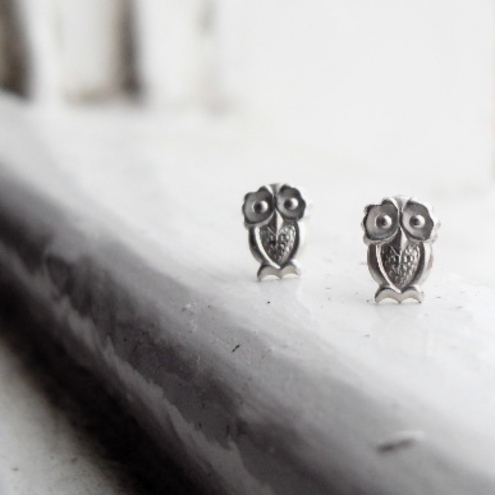 T'wit Ta'woo Silver Owl Stud Earrings