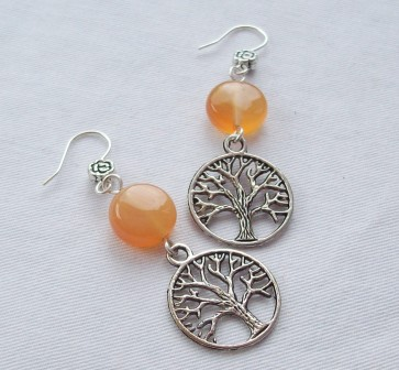 Carnelian Tree of Life Earrings