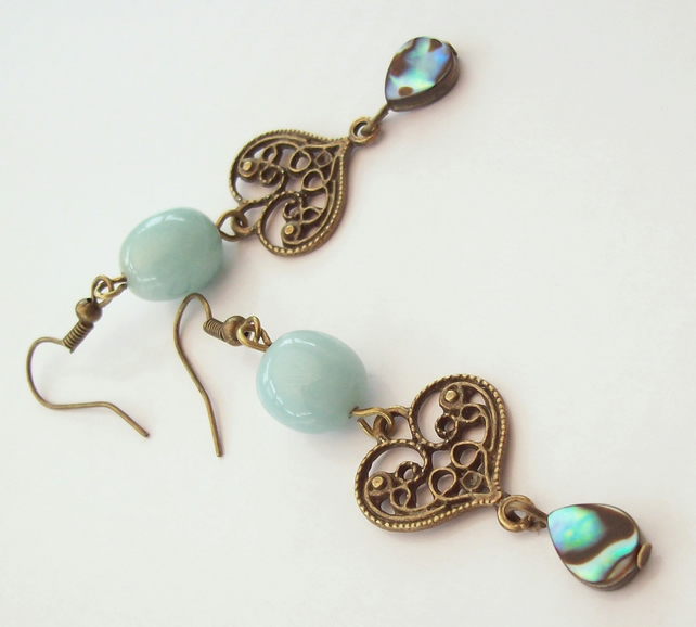 Gemstone Earrings Amazonite & Abalone Dangle Earrings