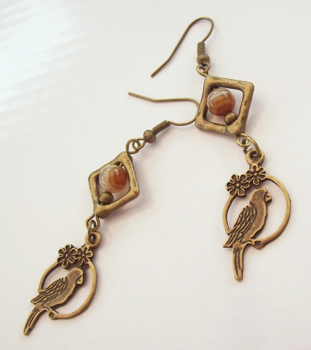 Parrot Drop Earrings, Agate Earrings