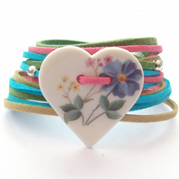 Handcrafted Ceramic Heart Suede Bracelet, Wrap