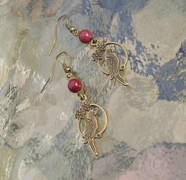 Mookaite Earrings with Parrot Charm