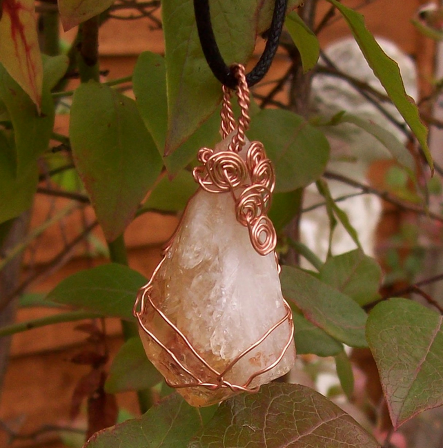 Raw Citrine Point Wire Wrapped Pendant Quartz Pendant.