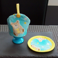 Teddy Egg Cosy and Drinks mat