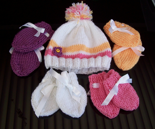Babies Hat and Mittens set, hand knitted, White Pink Purple and golden yellow