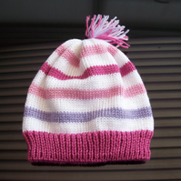 Girls Stripey Hat age 18 months to 3 years Hand knitted