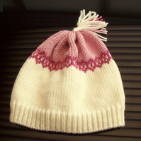 Child's Knitted Fairisle Hat in Cream and Pink age 3 - 5 years Girls Hat