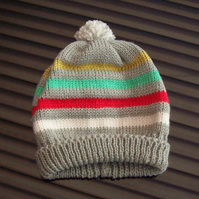 Baby Boys Striped Bobble Hat age 3 - 6 months