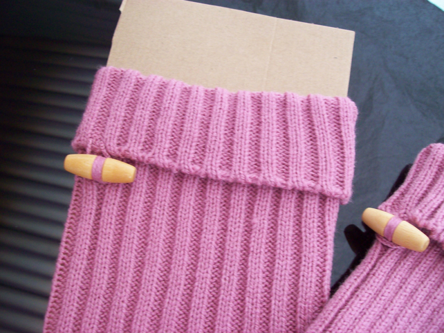 Pink Legwarmers with Toggle Top , Knitted Adult Leg Warmers,