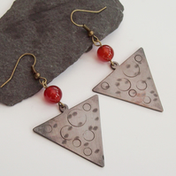 Triangle Earrings Textured Copper Big Earrings