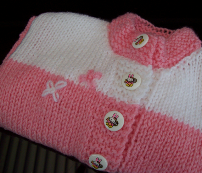 Baby Girls Cardigan Hand knitted Pink and White 3 to 6 Months