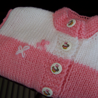 Hand knitted Pink and White Baby Cardigan