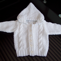 Handknitted White Baby Hooded Cardigan Cable and Moss Stitch , age 6 to 9 months