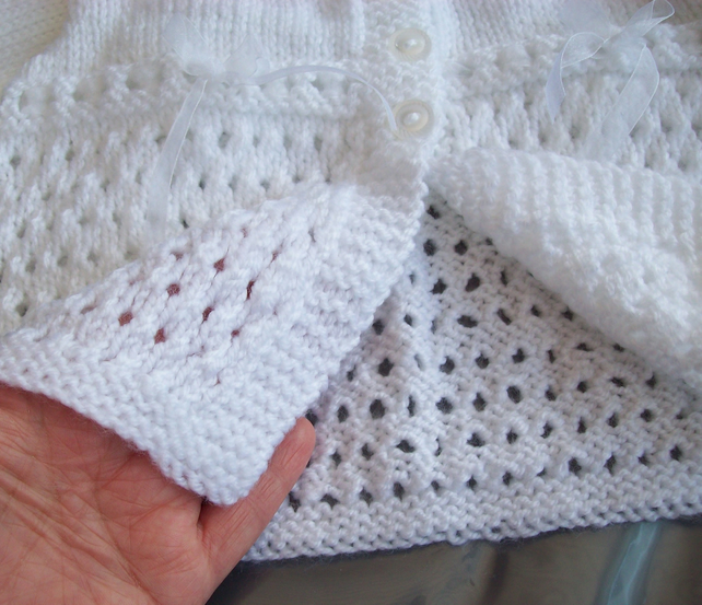 White baby Cardigan Hand Knitted Lace Baby Girl 3 - 6 month 16 inch Chest