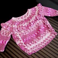 Baby Girl Pink Frill Jumper 3 to 6 months Hand Knitted