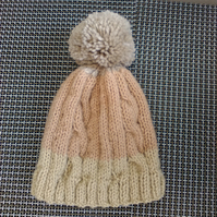 Adults Cable Knitted Bobble Hat , Beani Hat , Slouchy Hat