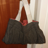 Brown Tweed Upcycled Skirt Bag