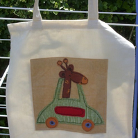 Giraffe in a Car - Tote Bag