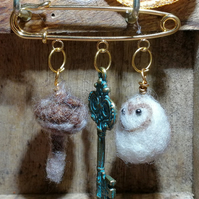 Owl, key and mushroom forest brooch, needle felted gift hand made witch