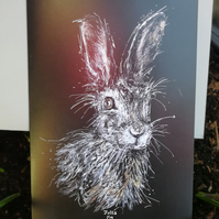 Original wild hare design, quality printed greetings card with envelope. A6.