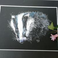 Beautiful badger portrait, original art, quality print with mount 10 x 8 inch