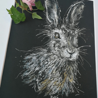 Beautiful Hare portrait, original art, quality print with mount 10 x 8 inch .2.