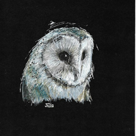 Original barn owl design, quality printed greetings card with envelope. A6. b