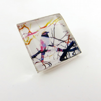 Bird on a Branch Square Glass Brooch