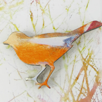 Wooden, Colourful, Magical Bird Brooch