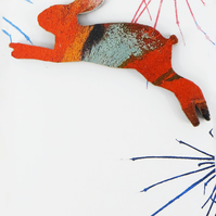 Wooden, Colourful, Leaping Hare Brooch.
