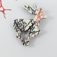 Running Deer Brooch with Tree Branch Decoration