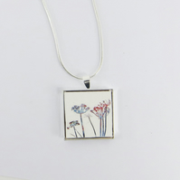 Small Square Botanical Pendant
