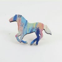 Galloping Horse Wooden Brooch