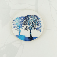 Twin Blue Trees Brooch