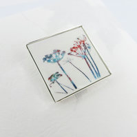 Small Square Colourful Wild Flower Brooch