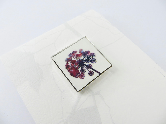 Small Square Flower Head Colourful Red Brooch