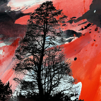 Dramatic red skyscape with trees printed artwork