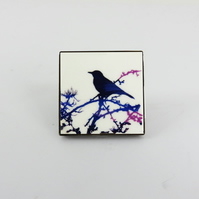 Bird on a Branch Square Wooden Tile Brooch