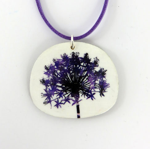 Botanical Purple Flower Seed Head Pendant